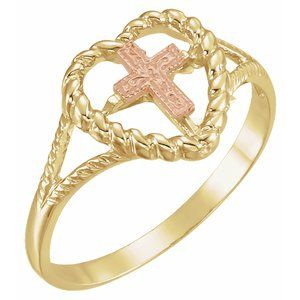 14K Yellow/Rose Heart Rope Ring with Cross
