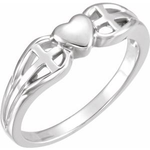 Sterling Silver 5.7 mm Heart & Cross Ring