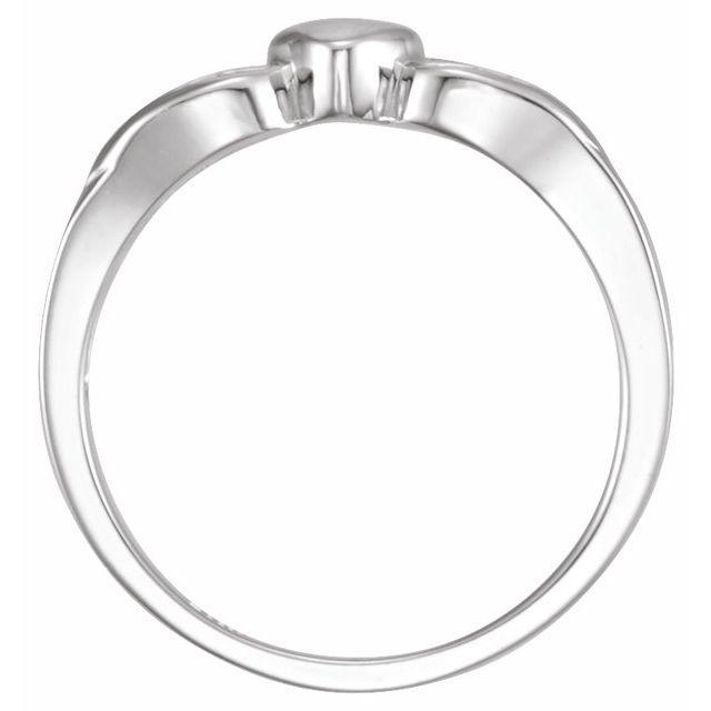 Sterling Silver 5.7 mm Heart & Cross Ring