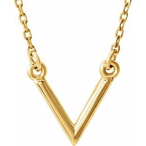 """14K Yellow """"V"""" 16.5"""" Necklace"""