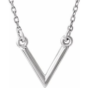 "Sterling Silver ""V"" 16.5"" Necklace"