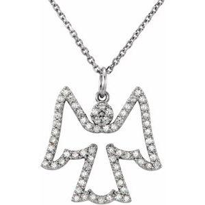 "14K White 1/3 CTW Diamond Angel 16"" Necklace"