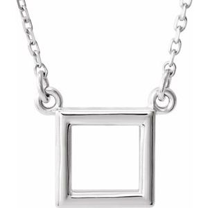 "Sterling Silver Square 16.5"" Necklace"