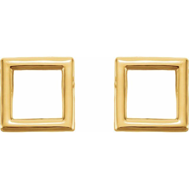 14K Yellow Square Earrings