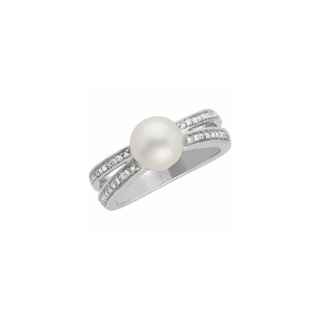 14K White Freshwater Cultured Pearl & 1/5 CTW Diamond Ring