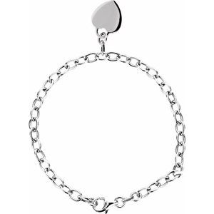 "Sterling Silver Rolo 7.5"" Bracelet with Heart Charm"