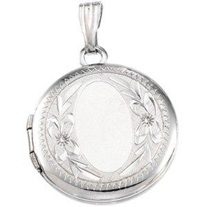 Sterling Silver 23.4x16.2 mm Design-Engraved  Oval Shaped Locket