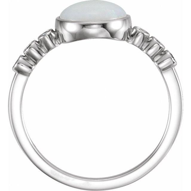 14K White Opal & 1/10 CTW Diamond Ring