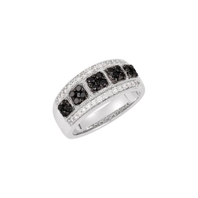 14K White Black Rhodium Plated 3/4 CTW Black & White Diamond Ring