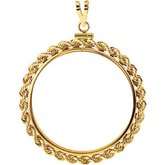 32.7x2.7 mm Screw-Top Rope Coin Frame Pendant