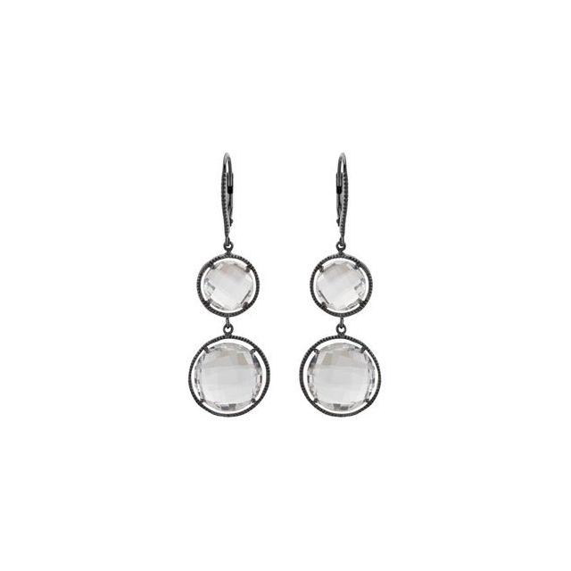 Black Rhodium-Plated Sterling Silver Clear Quartz Earrings