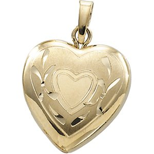 14K Yellow Heart Shape Locket