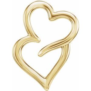 14K Yellow Double Heart Slide Pendant