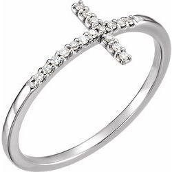 Diamond Sideways Cross Ring or Mounting