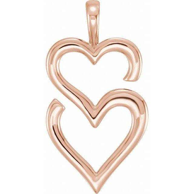 14K Rose Double Heart Pendant