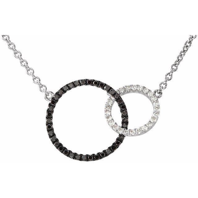 14K White 1/3 CTW Black & White Diamond Circle 18