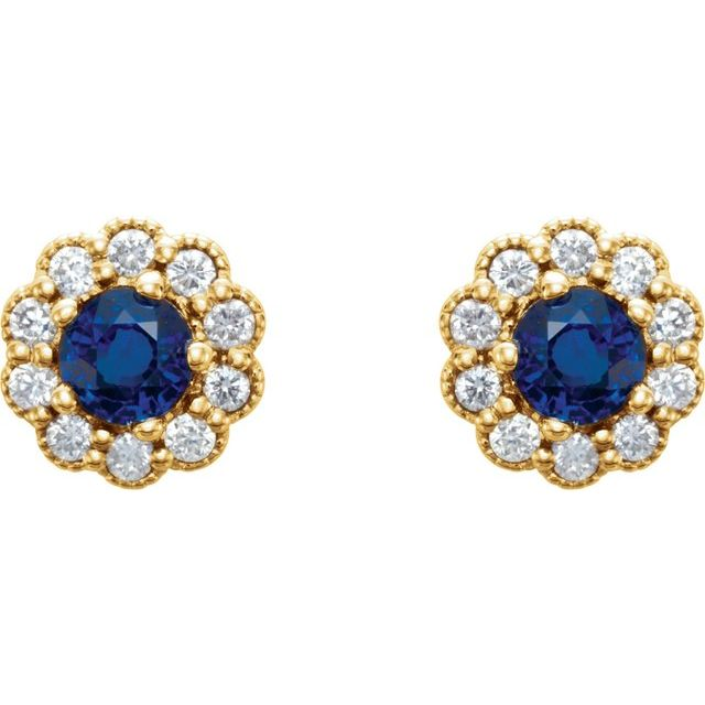 14K Yellow 3.2 mm Round Blue Sapphire & 1/6 CTW Diamond Earrings