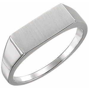Sterling Silver 15x7 mm Rectangle Signet Ring