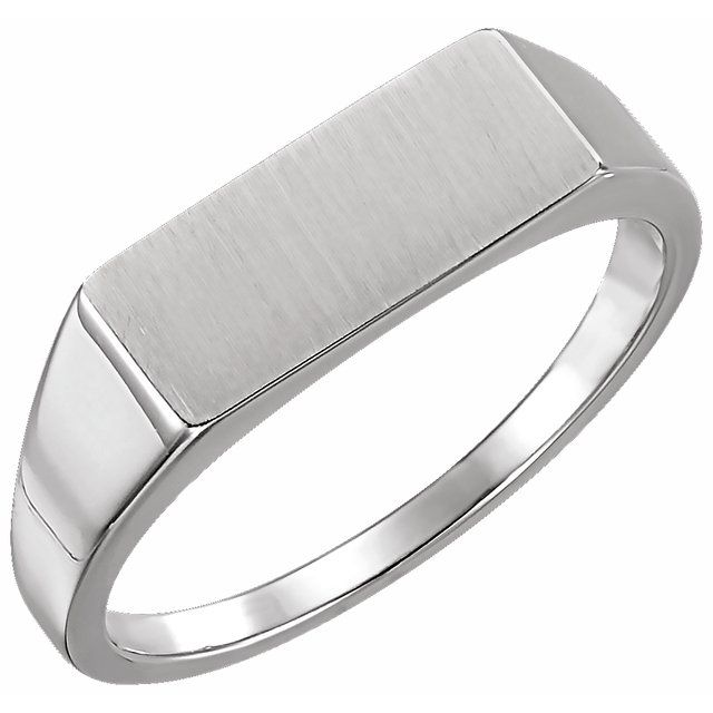 14K White 15x7 mm Rectangle Signet Ring