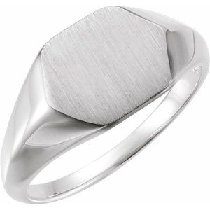 14K White 12x10 mm Geometric Signet Ring