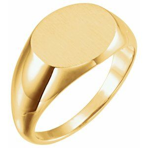 14K Yellow 14x12 mm Oval Signet Ring