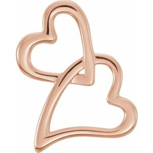 14K Rose Double Heart Slide Pendant