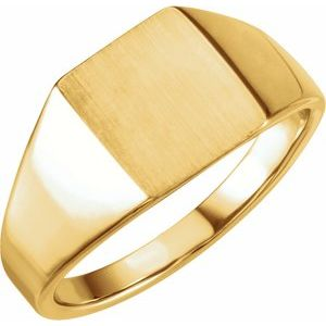 14K Yellow 11x10 mm Rectangle Signet Ring