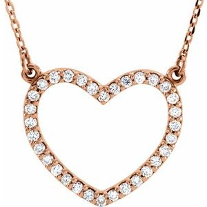 "14K Rose 1/5 CTW Diamond Small Heart 16"" Necklace"