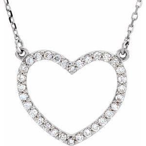 "14K White 1/5 CTW Diamond Small Heart 16"" Necklace"