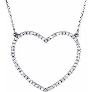"14K White 3/8 CTW Diamond Large Heart 16"" Necklace"
