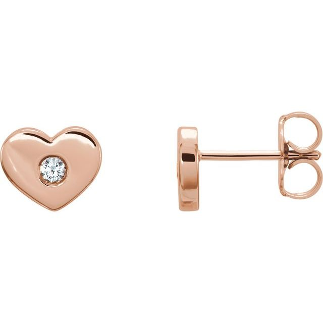 14K Rose .06 CTW Diamond Heart Earrings