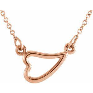 "14K Rose Heart 16-18"" Necklace"