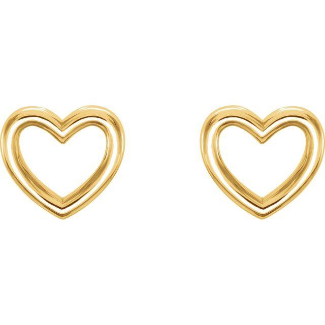 14K Yellow 8.7x8 mm Heart Earrings