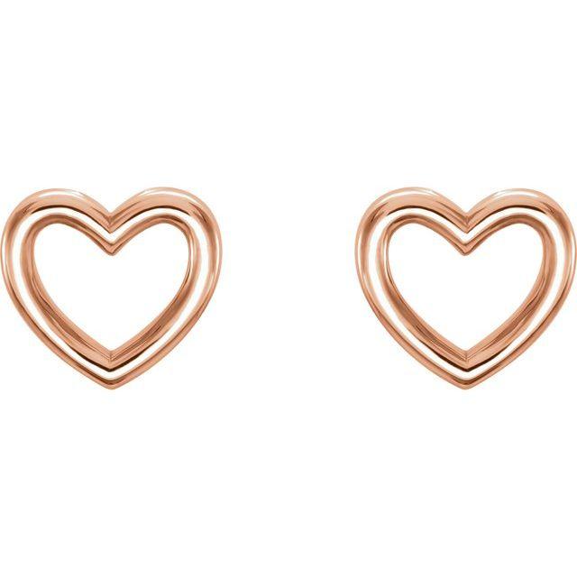 14K Rose 8.7x8 mm Heart Earrings