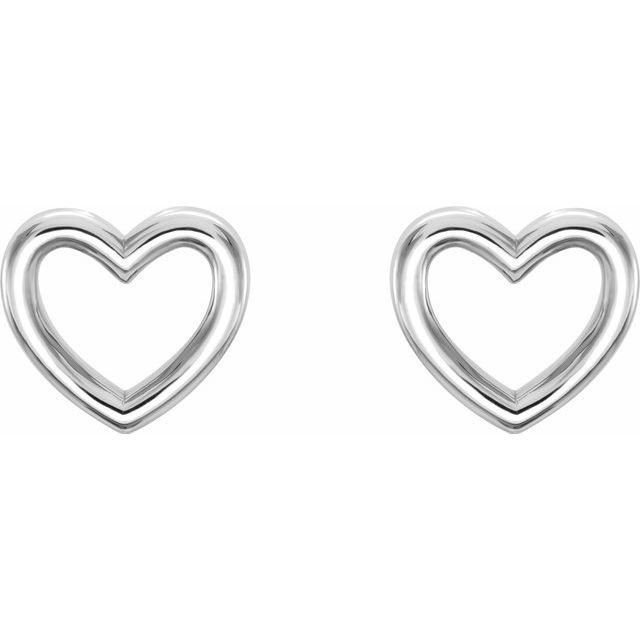 Sterling Silver 8.7x8 mm Heart Earrings