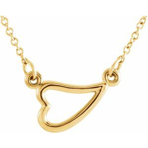 "14K Yellow Heart 16-18"" Necklace"