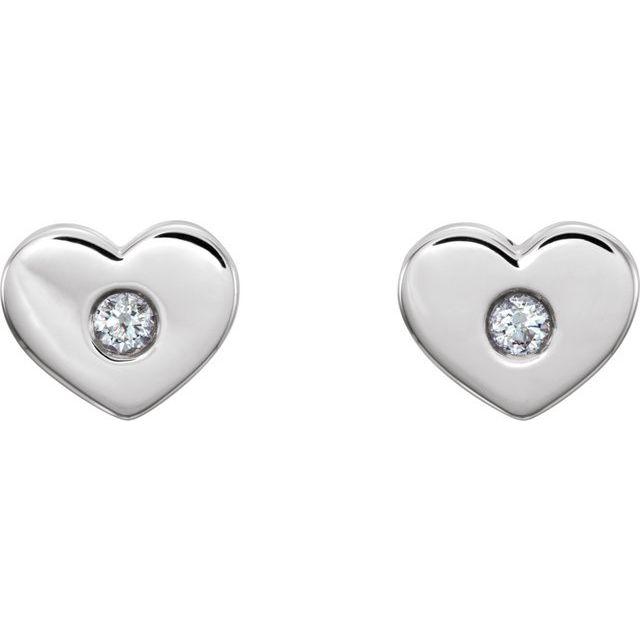 14K White .06 CTW Diamond Heart Earrings