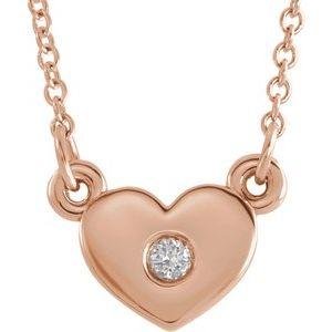 "14K Rose .03 CTW Diamond Heart 16"" Necklace"