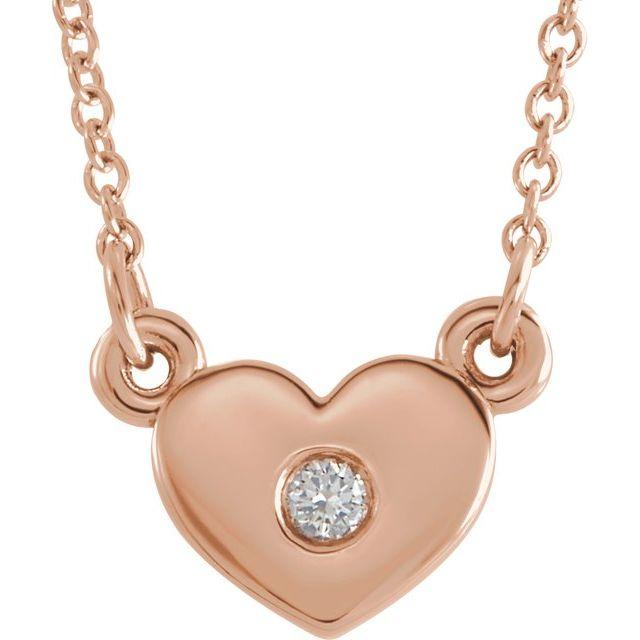 14K Rose .03 CTW Diamond Heart 16