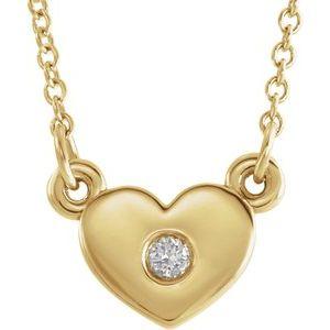 "14K Yellow .03 CTW Diamond Heart 16"" Necklace"