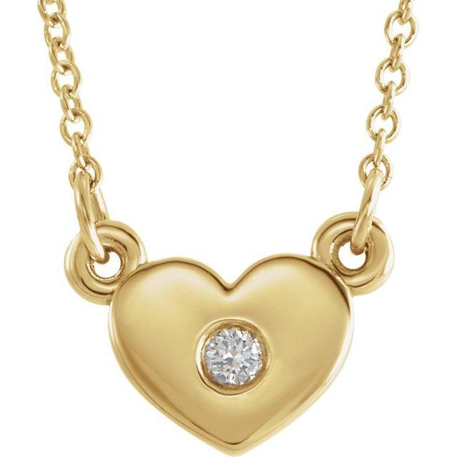 14K Yellow .03 CTW Diamond Heart 16