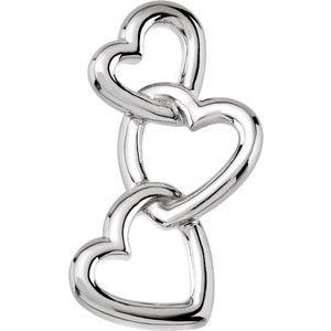 14K White Linked Hearts Pendant
