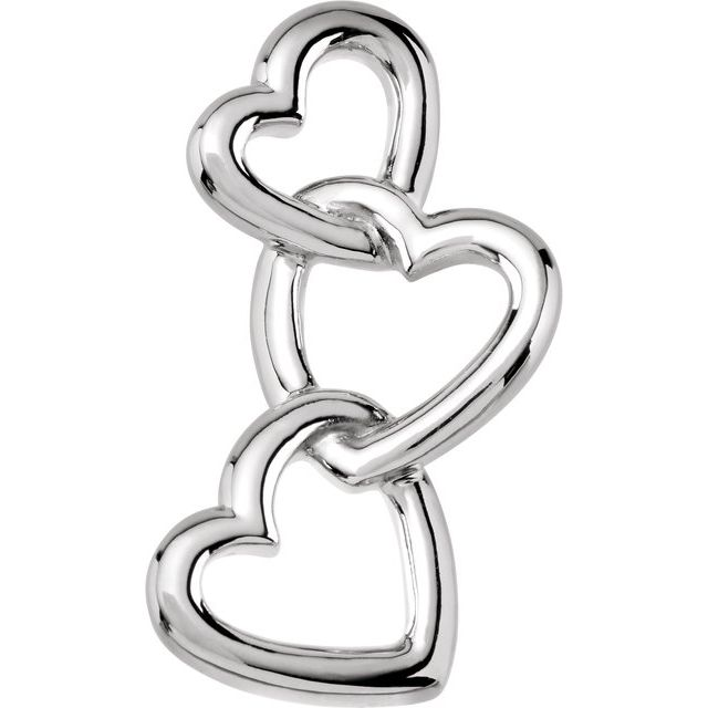 Sterling Silver 24.5x13 mm Linked Hearts Pendant
