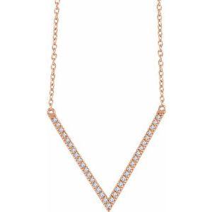 """14K Rose 1/6 CTW Diamond """"V"""" 16-18"""" Necklace"""