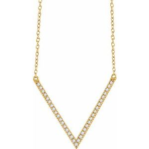 "14K Yellow 1/6 CTW Diamond ""V"" 16-18"" Necklace"