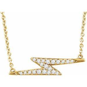 "14K Yellow 1/8 CTW Diamond Lightning Bolt 16-18"" Necklace"