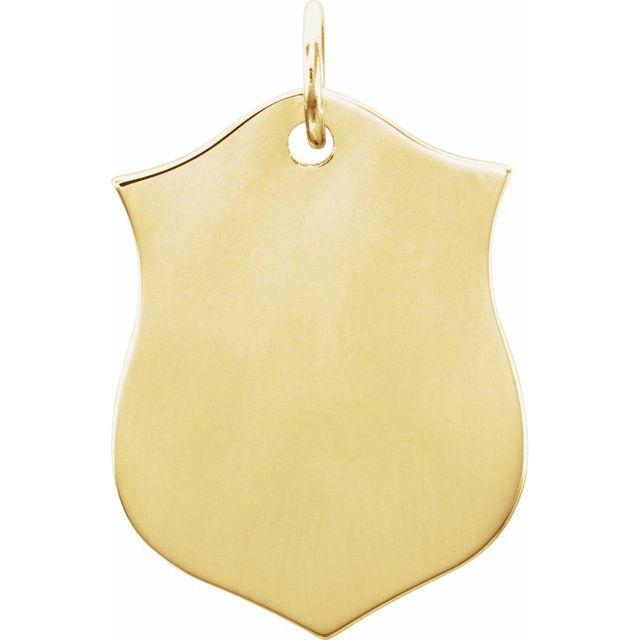 14K Yellow 22.1x14.1 mm Shield Pendant