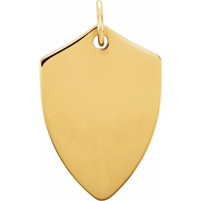 18K Yellow Vermeil 22.4x14.1 mm Shield Pendant