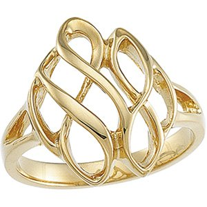 14K White Infinity-Inspired Metal Fashion Ring
