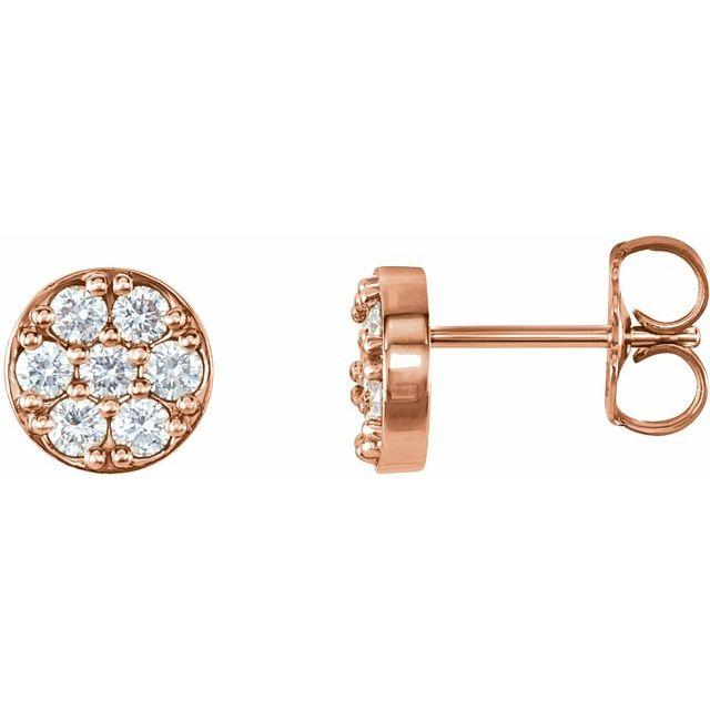 14K Rose 3/8 CTW Diamond Cluster Earrings